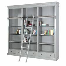 fayence grey painted large bookcase with ladder