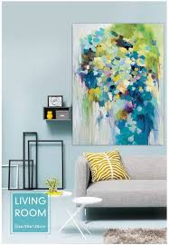 hand painted oil painting modern abstract blue light green color