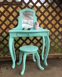 child s dressing table and chair upcycled child s vanity table with stool turquoise aqua vanity
