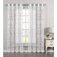 Coral Sheer Curtains Geometric Grommet Sheer Curtains Drapes Window