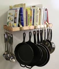 decor bookshelf and wall mount pot rack for cool kitchen