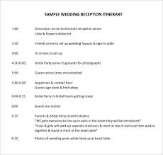 wedding reception itinerary wedding itinerary template 44 free word pdf documents