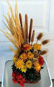 thanksgiving arrangements using grasses cattails berries