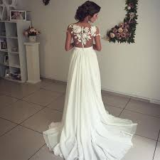 boho beach wedding dresses lace appliques chiffon wedding gowns