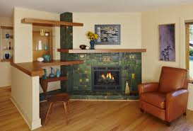 decorating green theme of motawi tile for face of fireplace