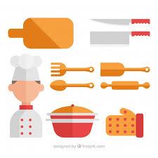Kitchen Utensils Design by Collection Chef With Kitchen Utensils In Flat Design Vector Free