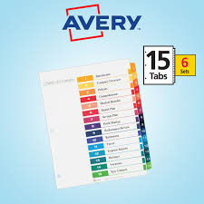 avery 15 tab table of contents color template avery ready index table of contents dividers 15 tab 6 set ave 11197