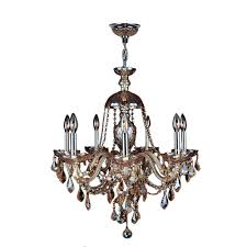 Amber Chandelier Worldwide Lighting Provence Collection 7 Light Polished Chrome And