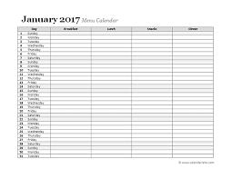 2017 weekly menu planner free printable templates