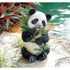 animal sculpture yard panda outdoor statue garden flower bed