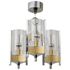 Brushed Brass Chandelier Sciolari Brushed Brass And Chrome Hurricane Glass Chandelier For