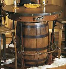 Barrel Bistro Table Rustic Western Pub Bistro Table Adorned With All The Trappings Of