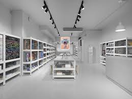 stylish monochromatic interior of color pencils store