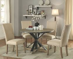 Leighton Dining Room Set Tobin Driftwood Grey Round Dining Room Set From Coaster Coleman