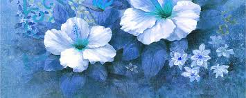 Blue Flower Backgrounds - taobao station oil painting flower background painting flowers