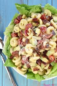 blt caesar pasta salad with avocado
