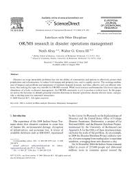 best oil ls emergency preparedness orms research in disaster operations management emergency