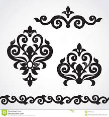vector set with classical ornament in style stock