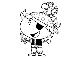 coloring page boy pirate parrot color online coloringcrew 543125