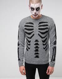 asos asos halloween jumper with skeleton body
