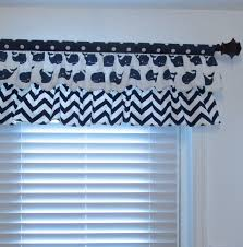 nursery valance two tiered curtain nautical navy blue white
