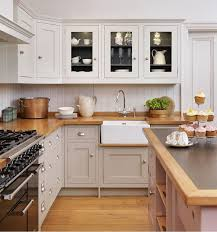 Painted Shaker Kitchen Cabinets Shaker Style Cabinets In A Warm Gray With Darker Gray Interior