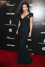 kim kardashian black sequin lace scalloped v neck mermaid long