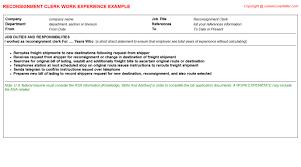 Clerk Job Description Resume Reconsignment Clerk Job Title Docs