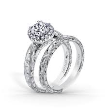 kirk kara wedding band scroll and milgrain solitaire halo engagement ring and