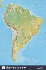 South America Rivers Map by South America Relief Map With Country Borders Stock Photo