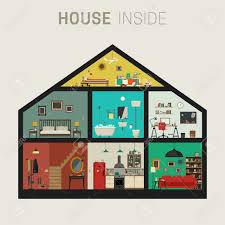 rooms in the house house inside interior vector flat house with set of basic rooms