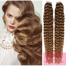 light brown curly hair 24 60cm tape hair tape in human remy hair curly light brown
