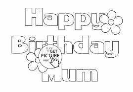 happy birthday mum letters card coloring page for kids holiday