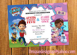 paw patrol and doc mcstuffins double birthday party invitation