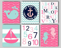 Girls Bedroom Artwork Baby Nursery Art Nautical Nursery Whale Anchor