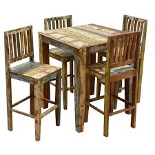 Pub Table And Chairs Set Rustic Reclaimed Wood High Bar Table U0026 Chair Set