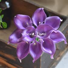 silk calla lilies royal purple calla lilies real touch flowers for silk wedding
