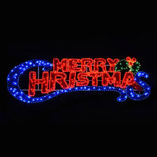 large outdoor lighted merry sign home with regard to