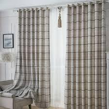 Tartan Drapes Romantic Plaid Room Darkening Gray Print Prairie Style Curtains