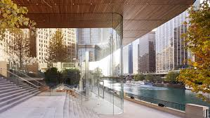 macbook shaped roof tops foster partners u0027 apple store in chicago