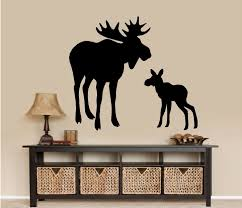 Wall Stickers Home Decor Moose And Baby Calf Wall Decal Home Decor 22