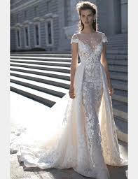 One Shoulder Wedding Dress 2016 Berta Wedding Dresses Detachable Skirt Cap Sleeves Lace