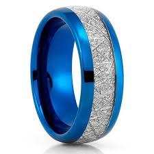 meteorite wedding band blue tungsten ring meteorite wedding band meteorite ring blue