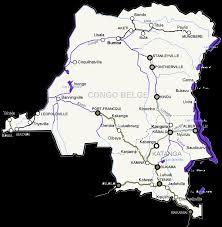 Congo Africa Map Railways Grey Black And Navigable Waterways Purple In The