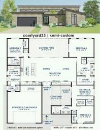 Plan AM  Bed Modern House Plan With Open Concept Layout - Contemporary home design plans