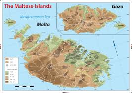 Geographical Map New Wall Map Of The Maltese Islands Geography