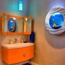 Blue And Orange Bathroom Decor Orange Cabinet And Wall Mounted Fish Tank Bathroom Kids Bathroom