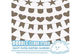 commercial wrapping paper kraft paper bunting banners cliparts design bundles