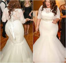 plus size bridal gowns gorgeous half sleeves mermaid wedding dresses 2016 new plus size