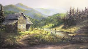 rustic cabin oil painting landscape art youtube
